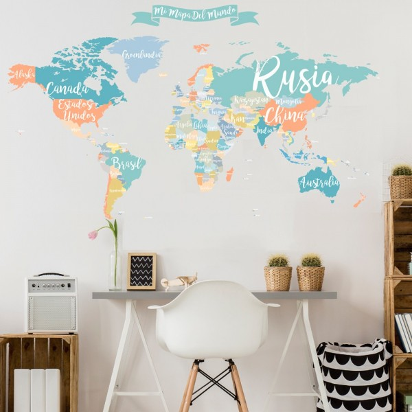 Colorful world map wall decal