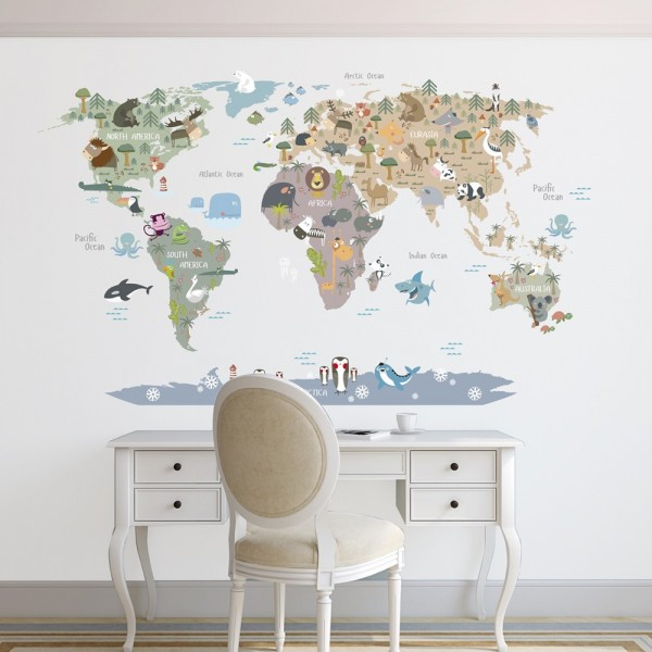 Animal world map in brown...