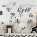 Political world map in shades of gray